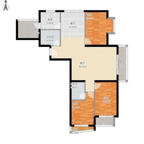 新世家小区3室1厅2卫1厨155.00㎡户型图