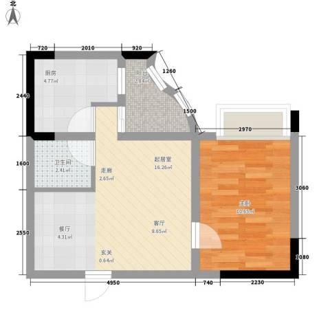 春江名都1室0厅1卫1厨54.00㎡户型图