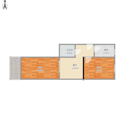 四平园2室1厅1卫1厨49.33㎡户型图