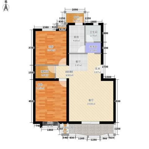 明德华园大厦2室0厅1卫1厨110.00㎡户型图
