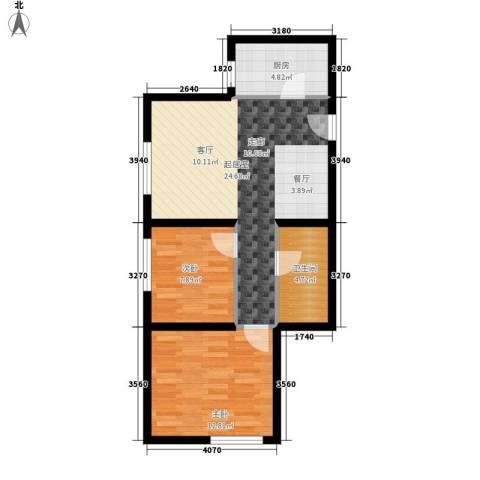 熙悦华府2室0厅1卫1厨87.00㎡户型图