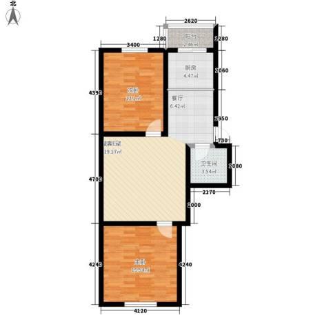 钻石礼都一期2室0厅1卫1厨75.00㎡户型图