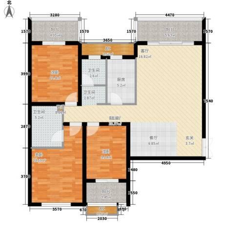 红旗雅居3室1厅2卫1厨115.00㎡户型图