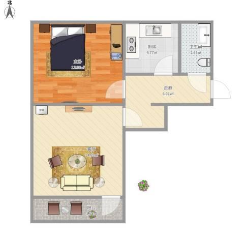 工业北路客车厂宿舍1室1厅1卫1厨61.00㎡户型图