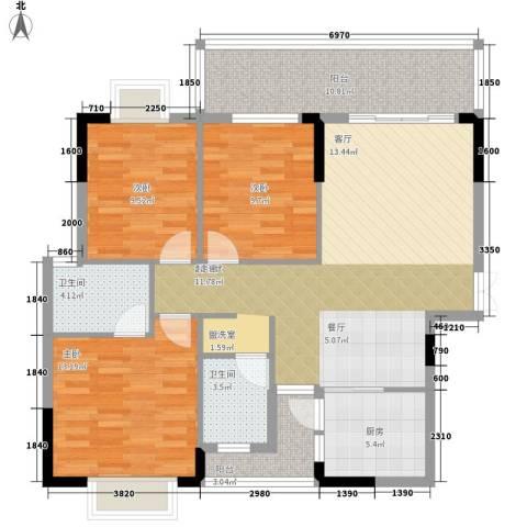 卧龙五洲世纪城3室0厅2卫1厨129.00㎡户型图