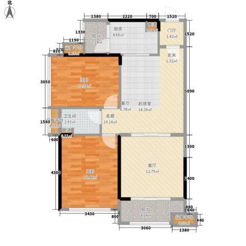 中源国际城2室1厅1卫1厨104.00㎡户型图