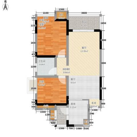 鲁能星城七街区2室0厅1卫1厨98.00㎡户型图