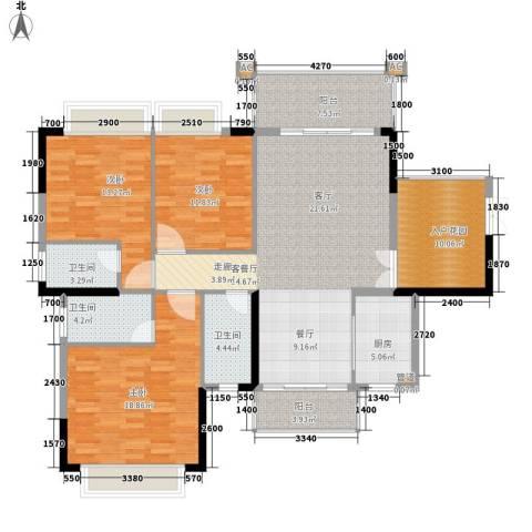 雍华庭3室1厅3卫1厨164.00㎡户型图