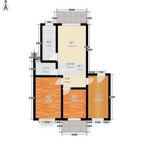 北门新苑2室0厅1卫1厨108.00㎡户型图