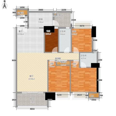 东海嘉园4室0厅2卫1厨130.00㎡户型图