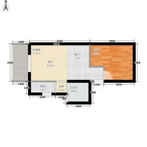 华清园小区1室0厅1卫1厨58.00㎡户型图