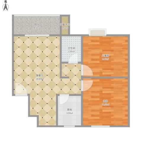 云龙海岸三期2室1厅1卫1厨72.00㎡户型图