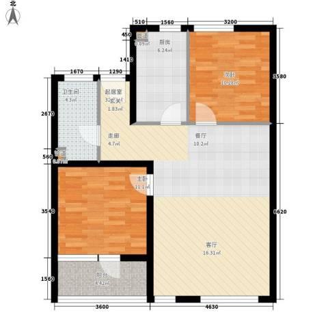 万科水晶城2室0厅1卫1厨98.00㎡户型图