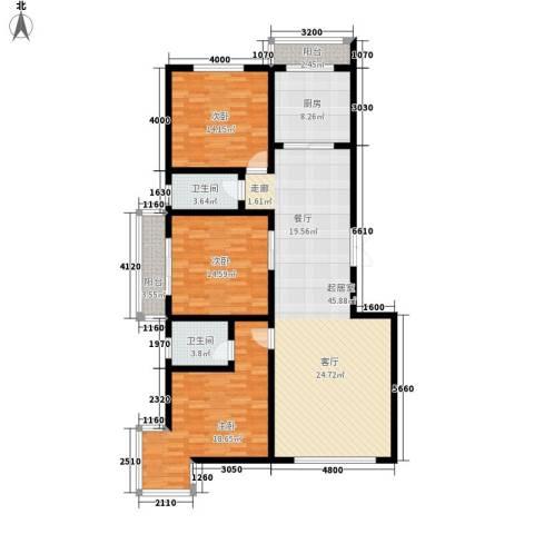 海东公馆3室0厅2卫1厨164.00㎡户型图
