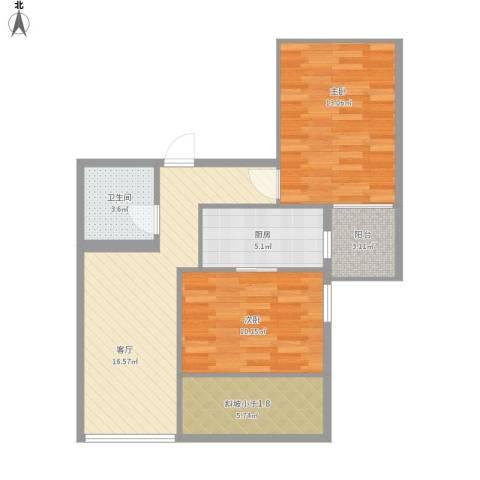 文慧园16号公寓2室1厅1卫1厨80.00㎡户型图