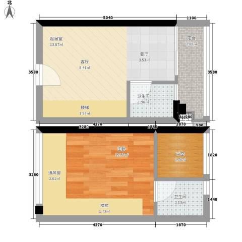 理想青年荟1室0厅2卫0厨42.00㎡户型图