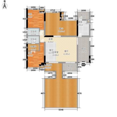 美年广场美岸2室0厅2卫1厨129.00㎡户型图