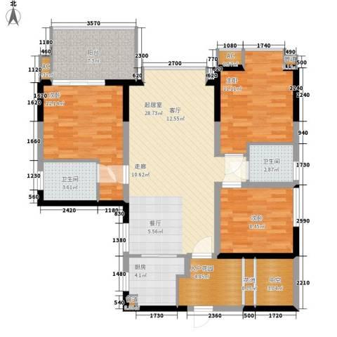 美年广场美岸3室0厅2卫1厨88.05㎡户型图