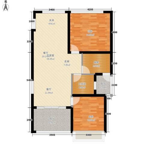 瑞景国际公馆2室0厅1卫1厨83.00㎡户型图