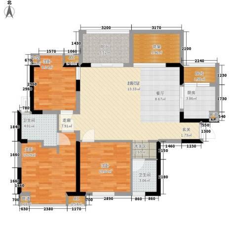美年广场美岸3室0厅2卫1厨89.89㎡户型图