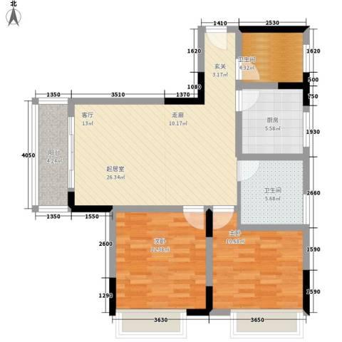 天河名港2室0厅2卫1厨75.00㎡户型图