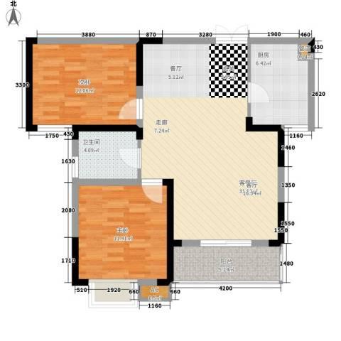 丰华园2室1厅1卫1厨97.00㎡户型图