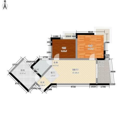 金和苑2室1厅1卫1厨93.00㎡户型图