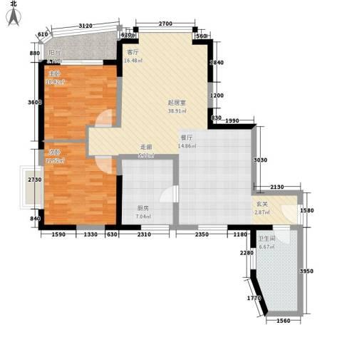 枫丹苑2室0厅1卫1厨89.00㎡户型图
