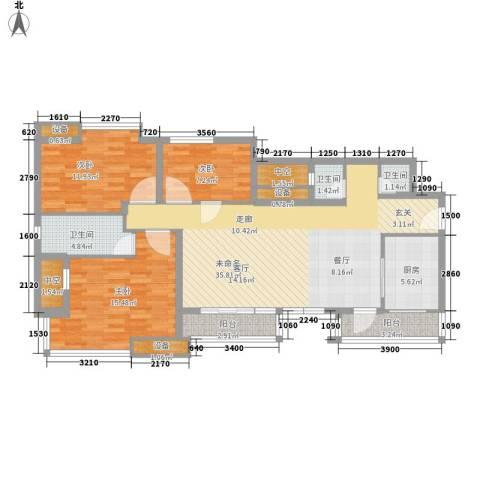 龙湖时代天街3室0厅3卫1厨109.00㎡户型图
