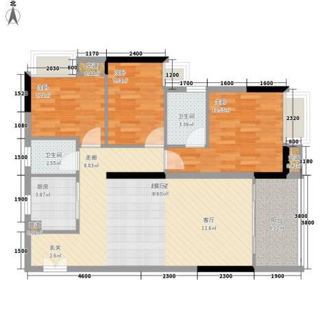 中信左岸3室0厅2卫1厨106.00㎡户型图