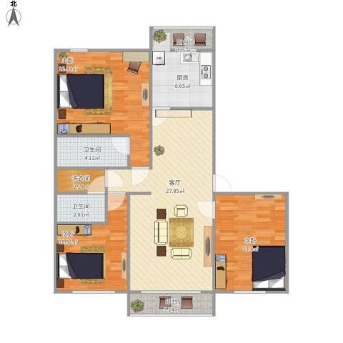 云趣园一区3室1厅2卫1厨121.00㎡户型图