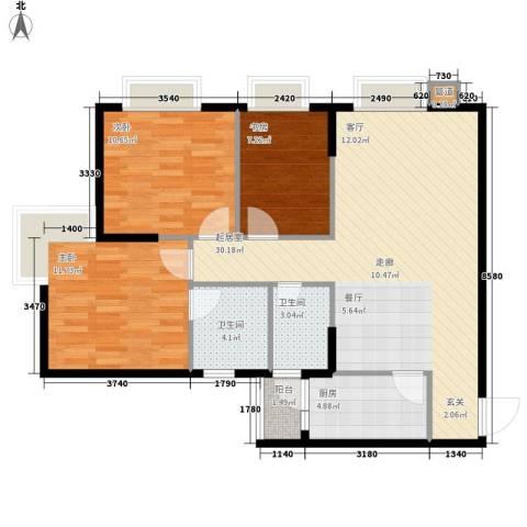 美好星空3室0厅2卫1厨81.00㎡户型图