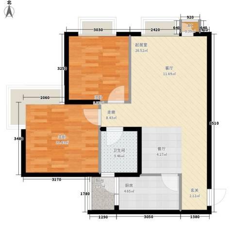美好星空2室0厅1卫1厨64.00㎡户型图