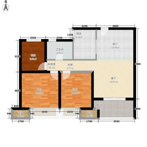 农房澜山3室0厅1卫1厨90.00㎡户型图