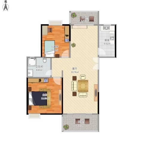 世纪城龙兴苑2室1厅1卫1厨103.00㎡户型图