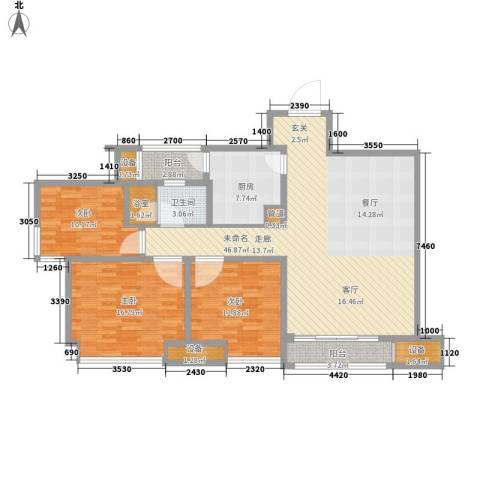 龙湖时代天街3室0厅1卫1厨109.71㎡户型图