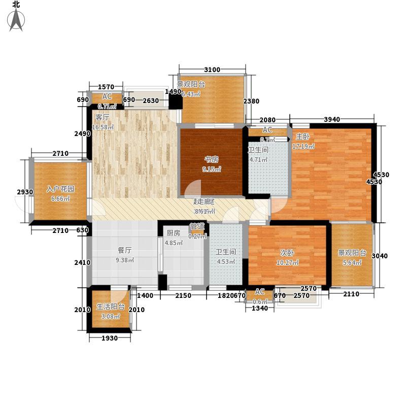 华府西苑126.27㎡8、9栋A型2面积12627m户型