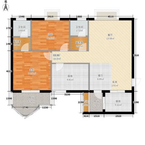 世纪一品2室1厅2卫2厨135.00㎡户型图