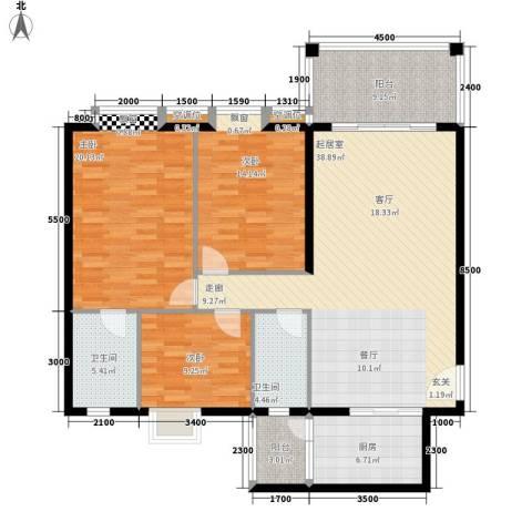 凯旋国际3室0厅2卫1厨126.00㎡户型图
