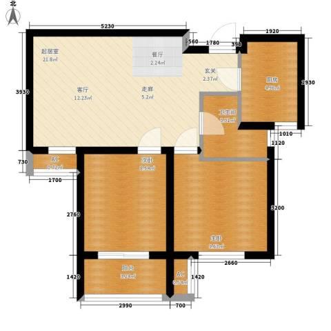 汉水熙园2室0厅1卫1厨78.00㎡户型图