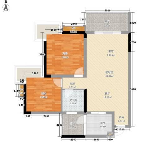 渝州路小区2室0厅1卫1厨70.48㎡户型图