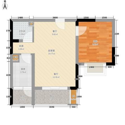 花卉小居1室0厅1卫1厨52.00㎡户型图