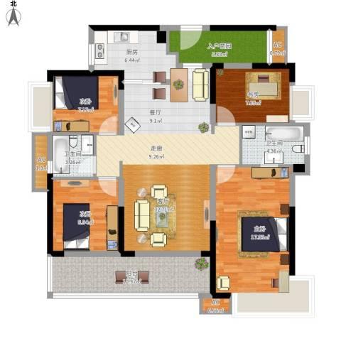 万科柏悦湾4室1厅2卫1厨155.00㎡户型图