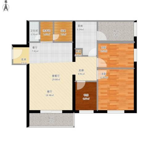 宁乡蓝色港湾3室1厅1卫1厨107.00㎡户型图