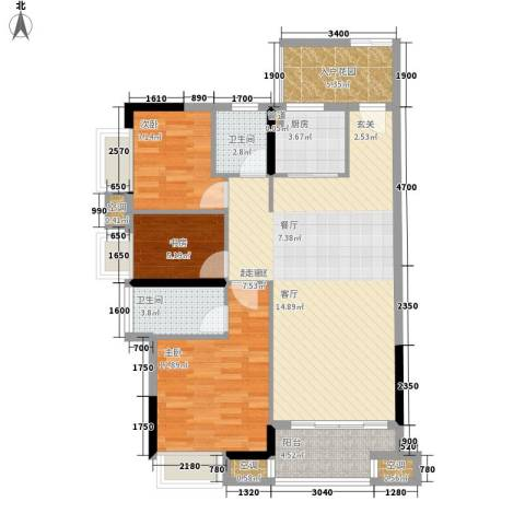 中信左岸3室0厅2卫1厨114.00㎡户型图