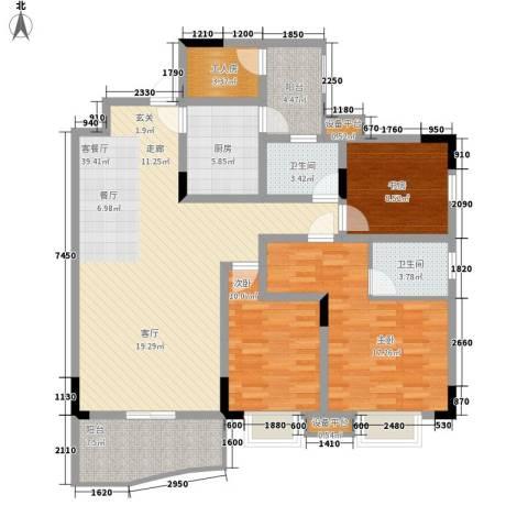 光华南桥人家3室1厅2卫1厨151.00㎡户型图