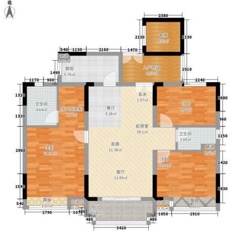 城央御景3室0厅2卫1厨126.00㎡户型图