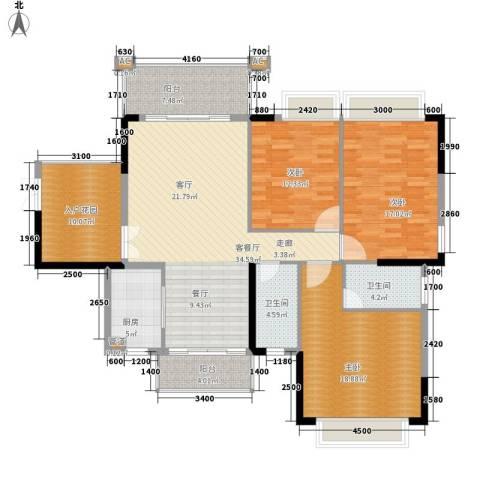雍华庭3室1厅2卫1厨165.00㎡户型图