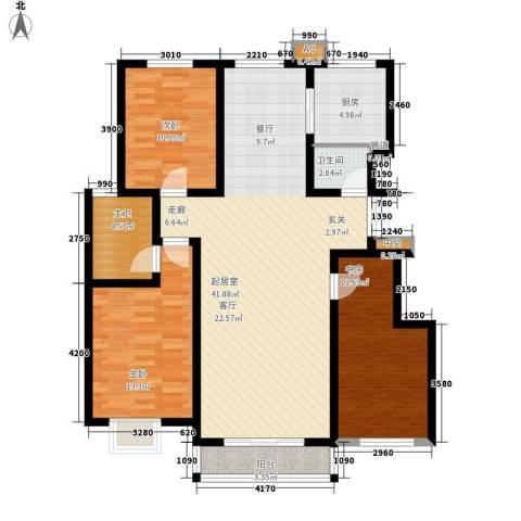 山水景园3室0厅1卫1厨93.69㎡户型图