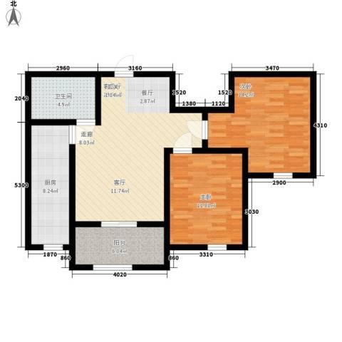 紫辰悦府2室1厅1卫1厨82.00㎡户型图